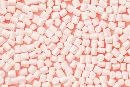 Living Coral. Color of the Year 2019. White marshmallows on trendy color pastel background. Flat lay
