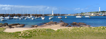 Yacht port at Wollongong. Breakwater Lighthouse in the middle