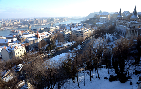 View from Fishermans Bastion (Budapest, Hungary) in winter time