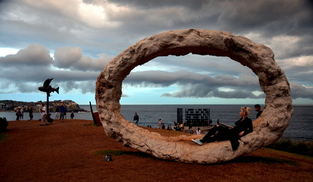 occurred: Sydney, Australia - Nov 6, 2015. Storm occurred over Sydney during the public event. Sculpture by the Sea along the Bondi to Coogee coastal walk is the worlds largest free  sculpture exhibitions.