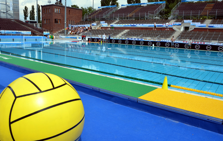 waterpolo: Budapest, Hungary - Jul 13, 2014 The historic swimming pool is ready for the start. The European Waterpolo Championship was held in Alfred Hajos Swimming Centre in 2014th