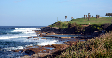 nsw: Outdoor swimming pool and golf course at Malabar beach (Sydney, NSW, Australia)