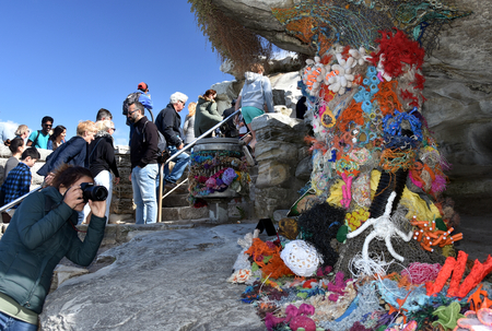 marion: Sydney, Australia - Oct 23, 2016 Marion Gaemers: Weave the Reef Love the Reef. Sculpture by the Sea at Bondi is the Worlds Largest free to the public sculpture Exhibitions.