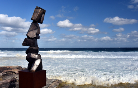 Sydney, Australia - Oct 23, 2016 Clara Hali Stack. Sculpture by the Sea Bondi to Coogee along the coastal walk is The Worlds Largest free to the public sculpture Exhibitions. Editorial