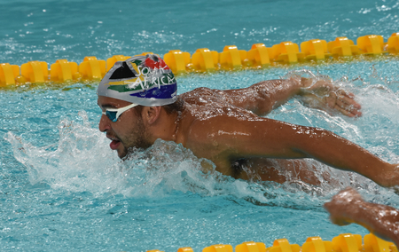 heats: Hong Kong, China - Oct 29, 2016. South African Olympic and world champion swimmer Chad Le Clos swimming butterfly.  FINA Swimming World Cup, Preliminary Heats, Victoria Park Swimming Pool.