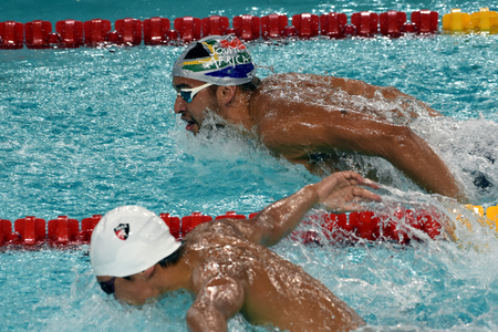 Hong Kong, China - Oct 29, 2016. South African Olympic and world champion swimmer Chad Le Clos swimming butterfly.  FINA Swimming World Cup, Preliminary Heats, Victoria Park Swimming Pool.