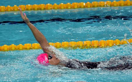 backstroke: Hong Kong, China - Oct 29, 2016. Russian olympian and world champion breaststroke swimmer Yulia Yefimova swimming backstroke. FINA Swimming World Cup, Preliminary Heats, Victoria Park Swimming Pool. Editorial