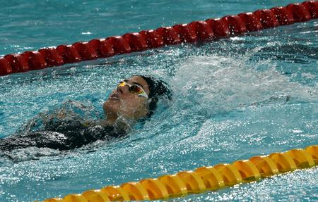 Hong Kong, China - Oct 29, 2016. Hungarian swimmer Zsuzsanna Jakabos swimming backstroke. FINA Swimming World Cup, Preliminary Heats, Victoria Park Swimming Pool. Editorial