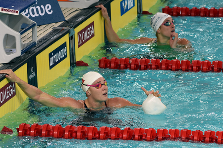 medley: Hong Kong, China - Oct 29, 2016. Danish Olympian and Record Holder sprint freestyle swimmer Jeanette OTTESEN in the finish. FINA Swimming World Cup, Preliminary Heat, Victoria Park Swimming Pool.