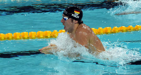 world record: Hong Kong, China - Oct 29, 2016. Olympian, world champion and record holder swimmer Marco KOCH (GER) swimming breaststroke. FINA Swimming World Cup, Preliminary Heats, Victoria Park Swimming Pool.