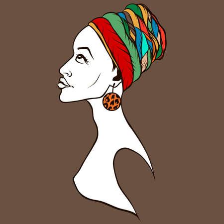 arte africano: silueta de la cara femenina afroamericana