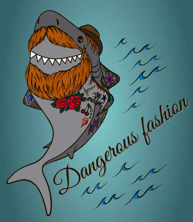 Shark hipster with a beard wearing a hat and tattoos Illustration