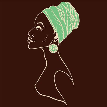 Vector portrait of beautiful African American woman in   line art style.
