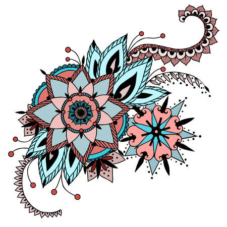 Hand drawn artwork with abstract flowers. Background for web, printed media design. Mehendi henna tattoo doodle style.