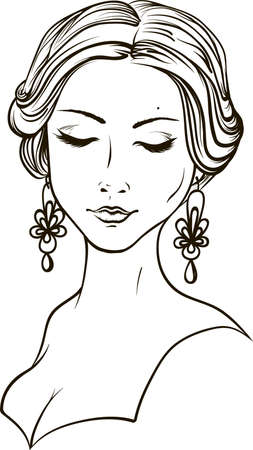 Portrait of a beautiful girl. Black linear silhouette in vector