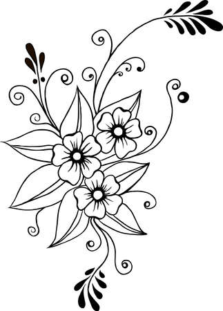 vector flower silhouette in black ornamental lines