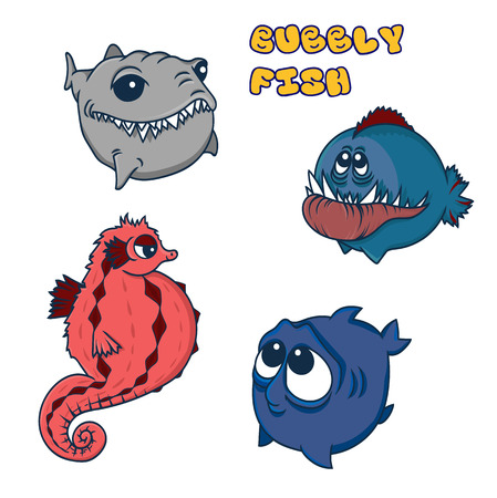 funny round fish. vector illustration. sea horse, shark, toothy fish and cute big-eyed fish