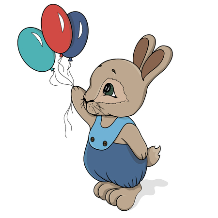 cute rabbit in vector with balloons in hand and in panties. vector illustration