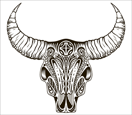 Boho chic, ethnic, native american or mexican bull skull with feathers on horns. Tribal hand drawn vector illustration Illustration