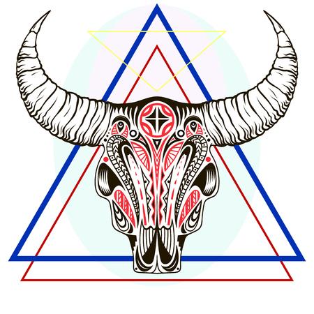 Vector illustration with a wild buffalo skulls. Vetores