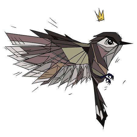 Side view of flying Sparrow bird. Flat cartoon character design. Colorful bird icon 向量圖像