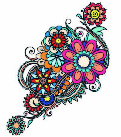 Bright color floral ornament. Decorative pattern in oriental mehndi style for the interior decoration, tatto and henna drawings.