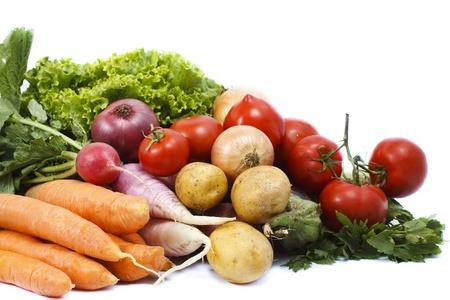 Fresh vegetables: lettuce, carrot, tomato, radish, potato - isolated on white
