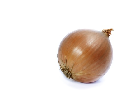 A ripe shiny onion isolated on white