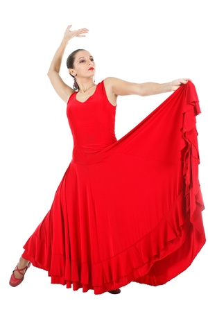 Full-body portrait of a woman flamenco dancer wearing red dress - isolated on white
