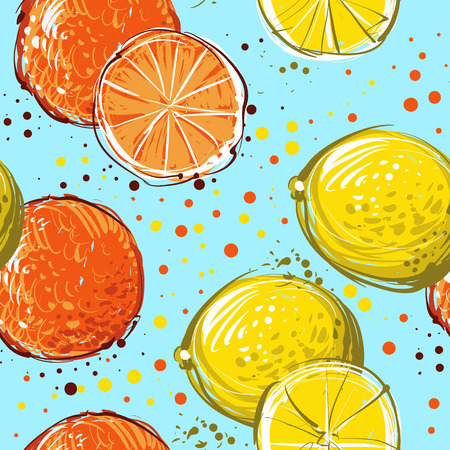 handdrawn: Lemons and oranges are hand-drawn. Vector seamless pattern  Illustration