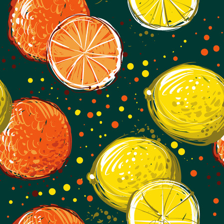 handdrawn: Lemons and oranges are hand-drawn. Vector seamless pattern