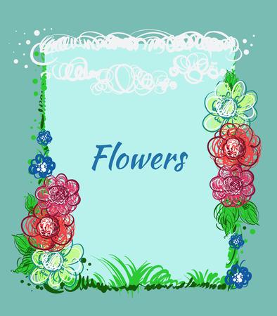 herbe ciel: Fleurs dessin�es � la main, le ciel, l'herbe. Vector greeting card