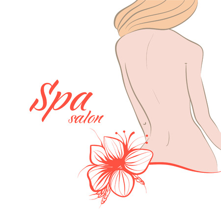 spa salon: A womans body, back and flower. Background for design. Spa salon.