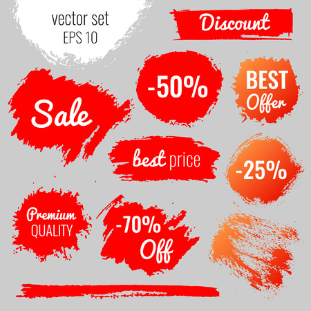 discount banner: Blots, stains to label, discount, best price. Vector set illustration in grunge style EPS10 Illustration