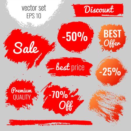 Las manchas, manchas de etiquetar, descuento, el mejor precio. Conjunto de vectores ilustración en EPS10 estilo grunge Ilustración de vector