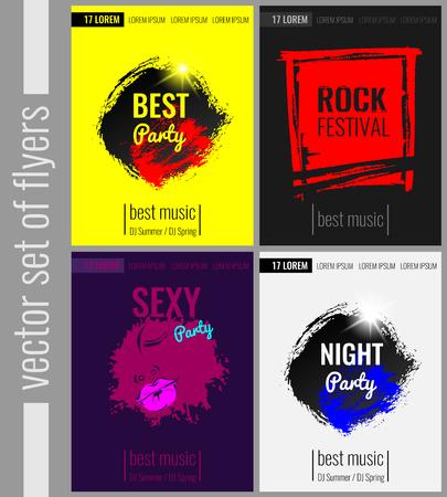 Conjunto de carteles, folletos vector para fiestas y eventos. La mejor fiesta, festival de rock, fiesta de la noche, partido atractivo EPS10 Ilustración de vector
