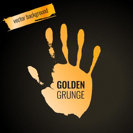 Golden handprint in grunge style. Vector illustration