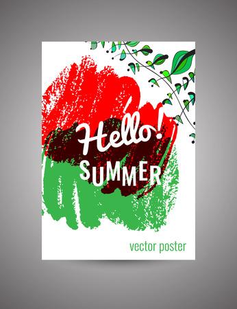 postcard: Hello Summer. Vector bright floral postcard Illustration