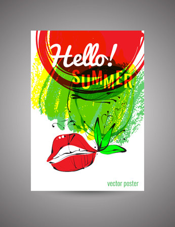 postcard: Hello Summer. Vector bright  postcard