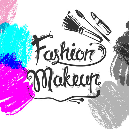 The lettering and brush strokes. Fashion makeup, brushes, lipstick.