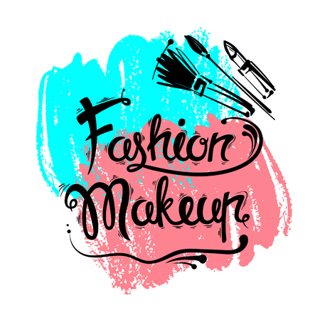 lipstick brush: The lettering and brush strokes. Fashion makeup, brushes, lipstick. stylish illustration