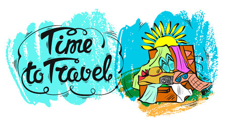 summer holidays: The time to travel. The inscription the lettering.  illustration