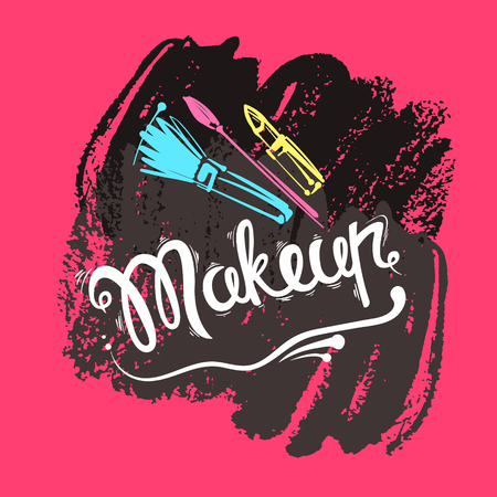 lipstick brush: The lettering and brush strokes. Fashion makeup, brushes, lipstick. Vector stylish illustration EPS10