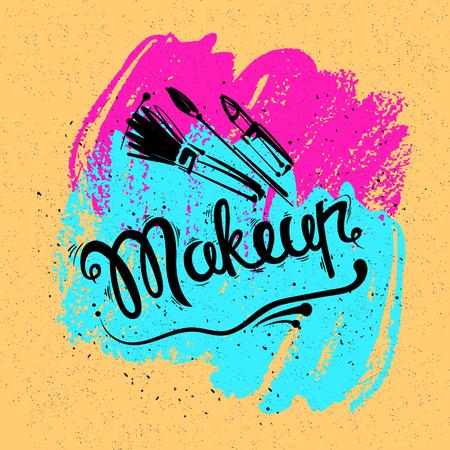 lipstick brush: The lettering and brush strokes. Fashion makeup, brushes, lipstick. Vector stylish illustration