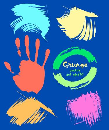 dabs: Grunge set. Handprint grunge on black striped background. Grunge brushes and dabs. Vector illustration