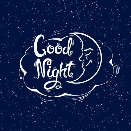 Good night.The month and the cloud.Hand-drawn letters. Vector illustration