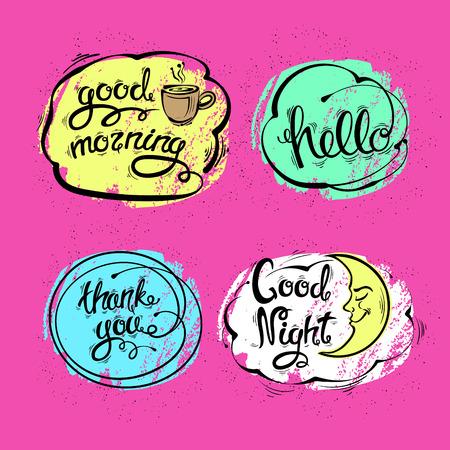 Bonne nuit, bonjour, merci. Lettres dessinées à la main. Ensemble d'illustrations vectorielles