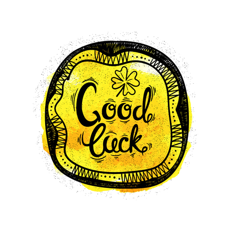 leaved: Good luck. Hand drawn letters and designs on watercolor background. Vector illustration