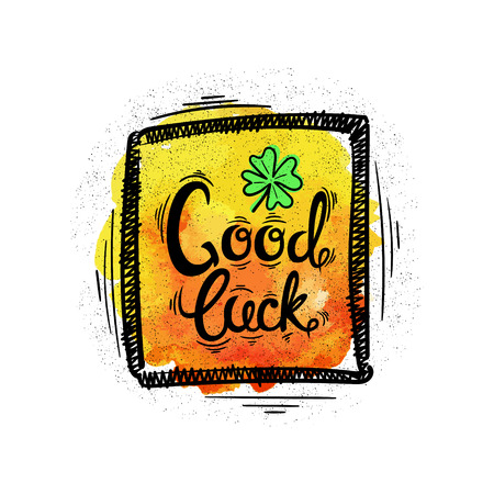 four leaved: Good luck. Hand drawn letters and designs on watercolor background. Vector illustration