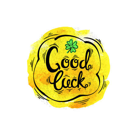 stroke of luck: Good luck. Hand drawn letters and designs on watercolor background. Vector illustration